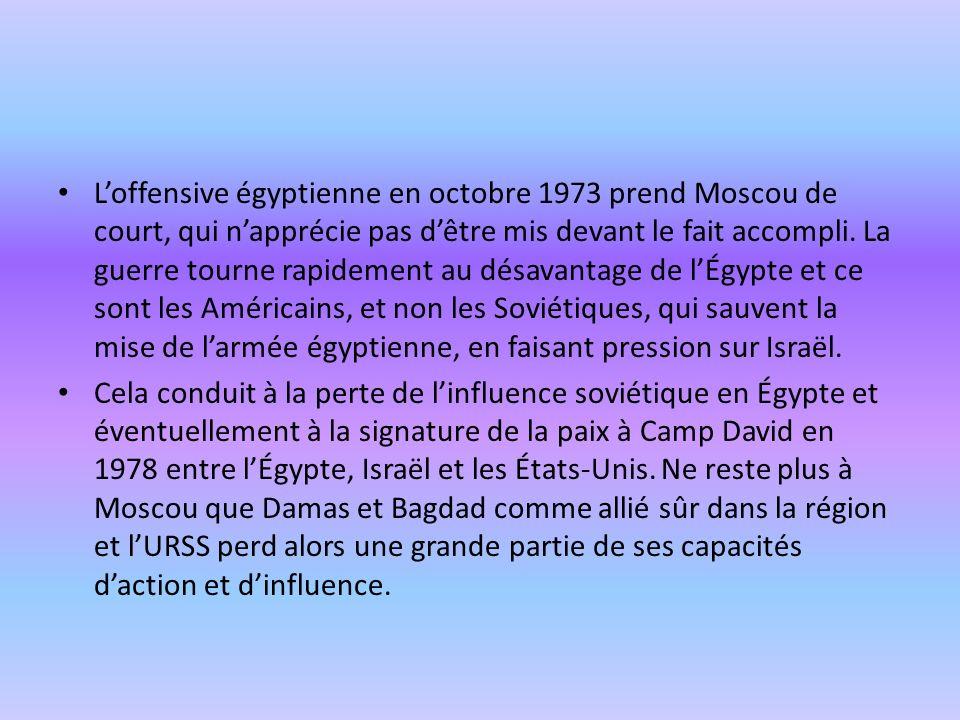 Loffensive égyptienne en octobre 1973 prend Moscou de court, qui napprécie pas dêtre mis devant le fait accompli. La guerre tourne rapidement au désav