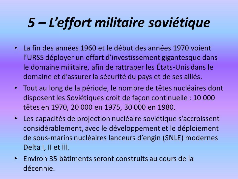 5 – Leffort militaire soviétique La fin des années 1960 et le début des années 1970 voient lURSS déployer un effort dinvestissement gigantesque dans l