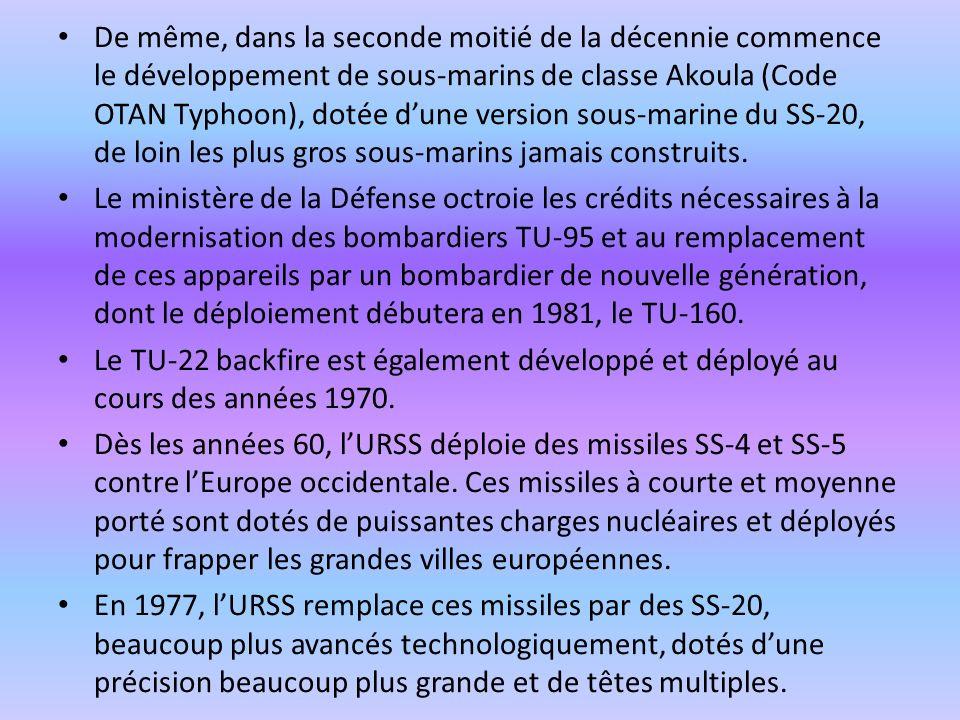 De même, dans la seconde moitié de la décennie commence le développement de sous-marins de classe Akoula (Code OTAN Typhoon), dotée dune version sous-