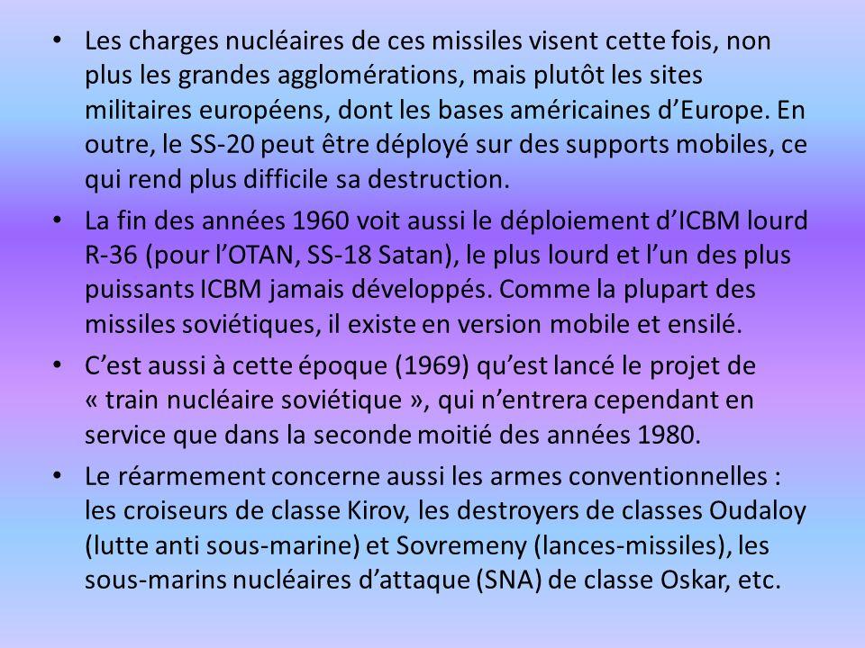 Les charges nucléaires de ces missiles visent cette fois, non plus les grandes agglomérations, mais plutôt les sites militaires européens, dont les ba