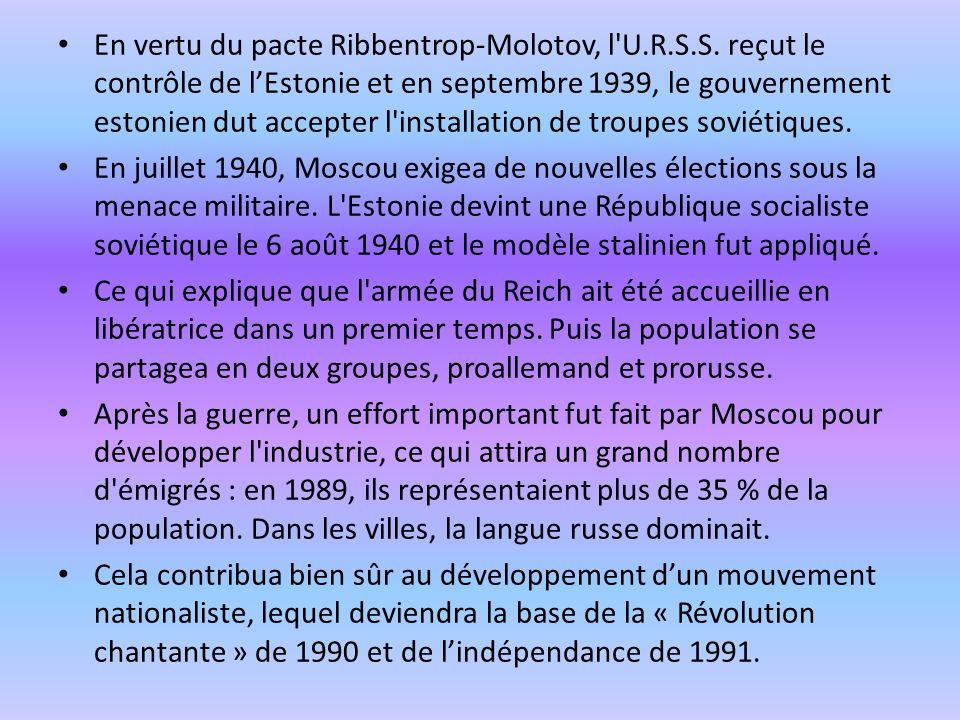 En vertu du pacte Ribbentrop-Molotov, l'U.R.S.S. reçut le contrôle de lEstonie et en septembre 1939, le gouvernement estonien dut accepter l'installat