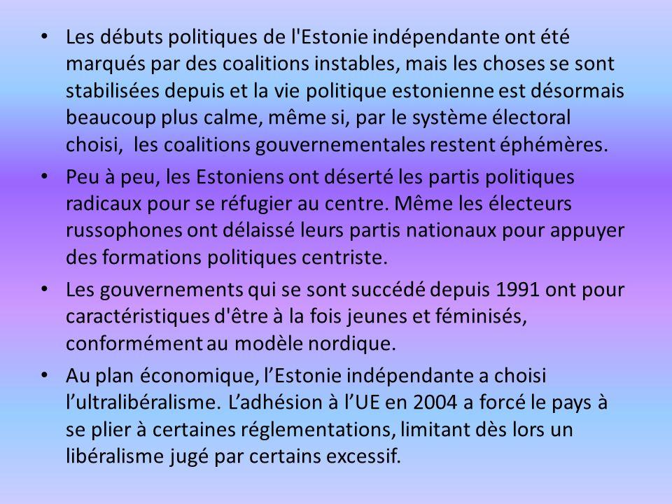 Les débuts politiques de l'Estonie indépendante ont été marqués par des coalitions instables, mais les choses se sont stabilisées depuis et la vie pol