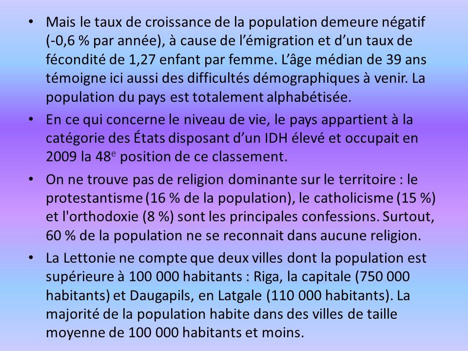 Mais le taux de croissance de la population demeure négatif (-0,6 % par année), à cause de lémigration et dun taux de fécondité de 1,27 enfant par fem