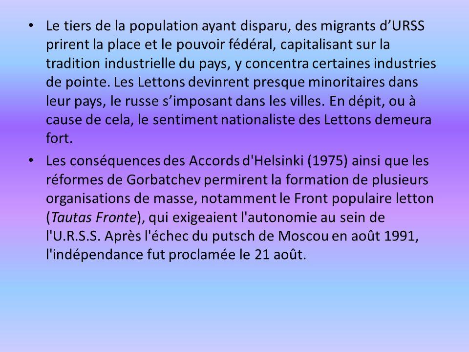 Le tiers de la population ayant disparu, des migrants dURSS prirent la place et le pouvoir fédéral, capitalisant sur la tradition industrielle du pays
