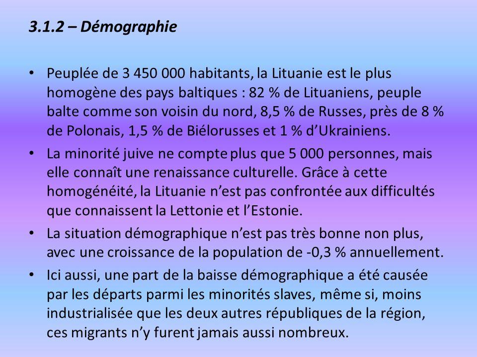 3.1.2 – Démographie Peuplée de 3 450 000 habitants, la Lituanie est le plus homogène des pays baltiques : 82 % de Lituaniens, peuple balte comme son v