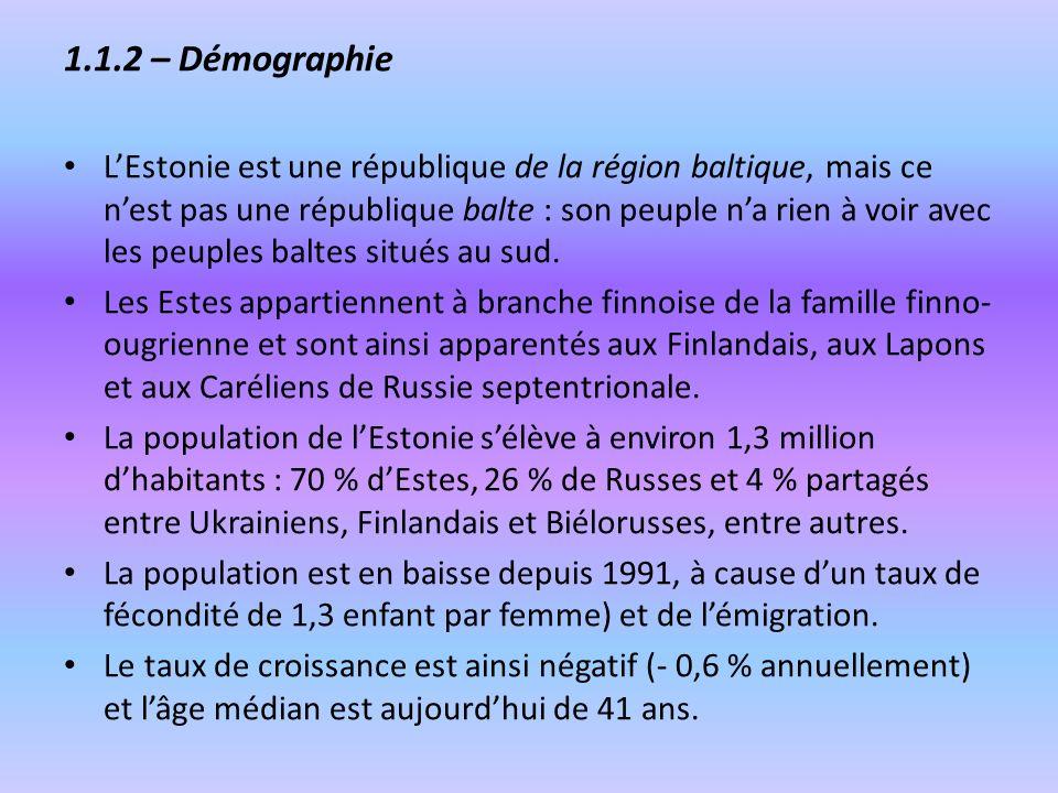 1.1.2 – Démographie LEstonie est une république de la région baltique, mais ce nest pas une république balte : son peuple na rien à voir avec les peup