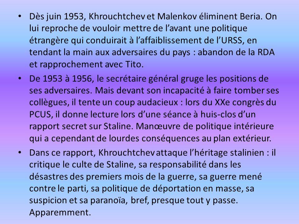Dès juin 1953, Khrouchtchev et Malenkov éliminent Beria.