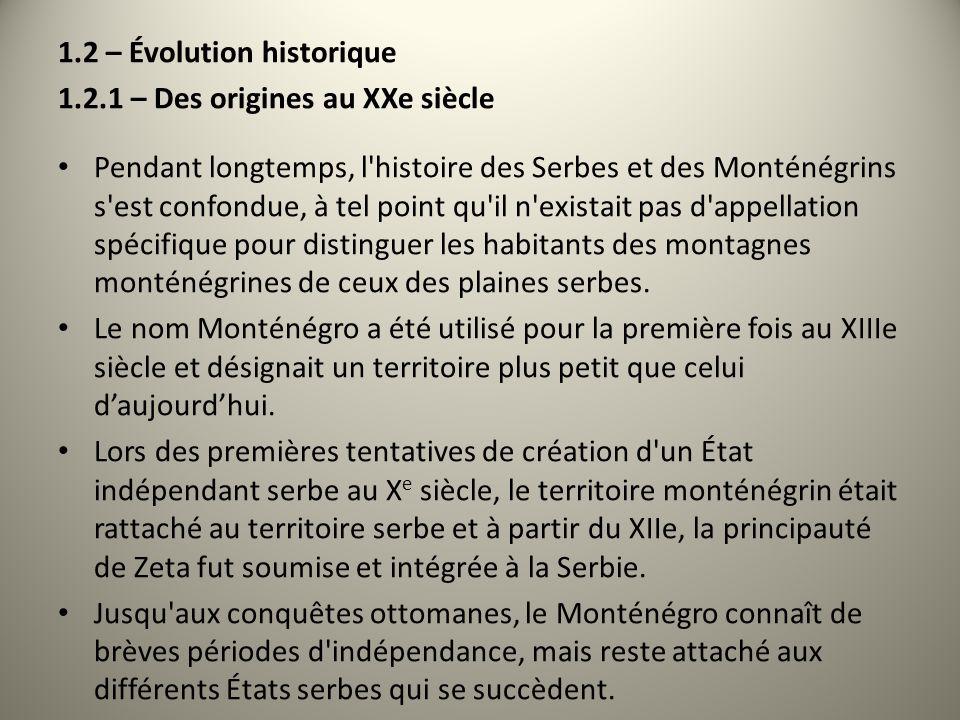 1.2 – Évolution historique 1.2.1 – Des origines au XXe siècle Pendant longtemps, l'histoire des Serbes et des Monténégrins s'est confondue, à tel poin
