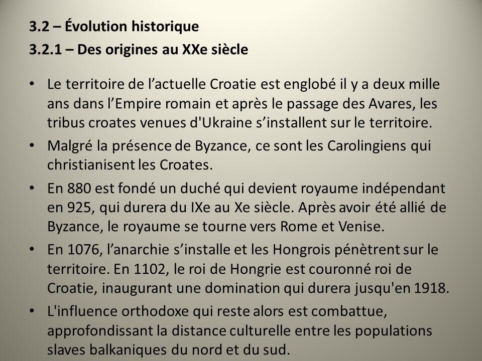 3.2 – Évolution historique 3.2.1 – Des origines au XXe siècle Le territoire de lactuelle Croatie est englobé il y a deux mille ans dans lEmpire romain