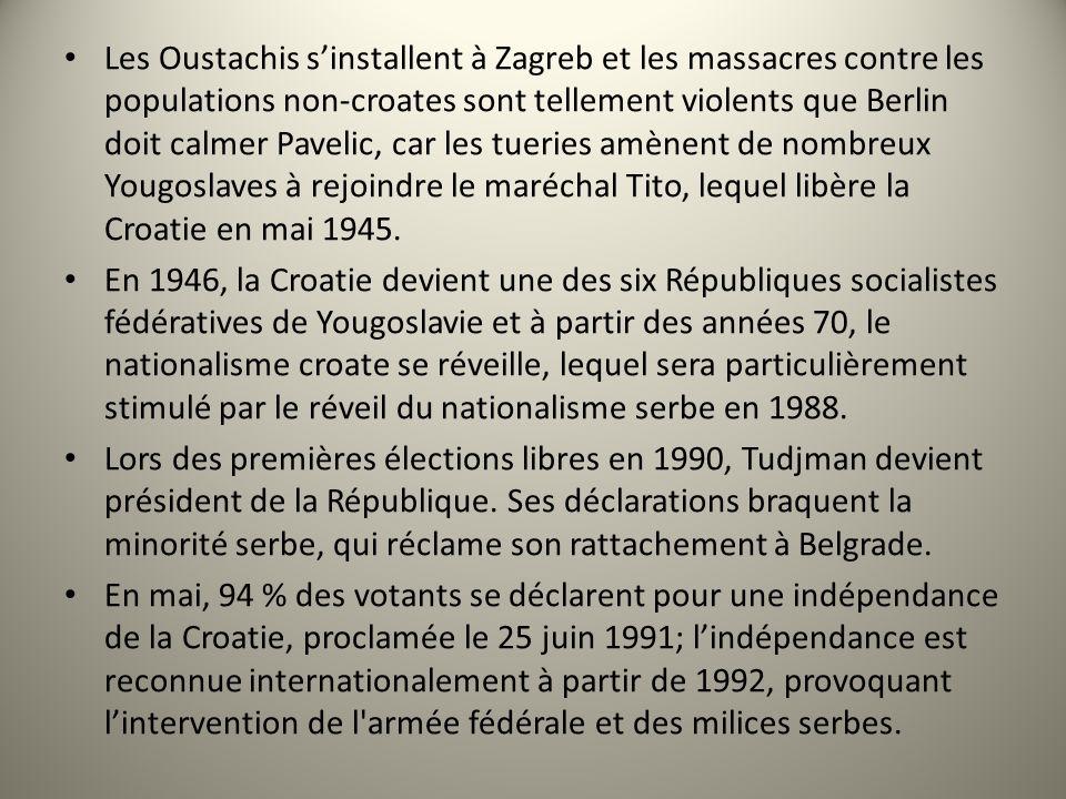 Les Oustachis sinstallent à Zagreb et les massacres contre les populations non-croates sont tellement violents que Berlin doit calmer Pavelic, car les