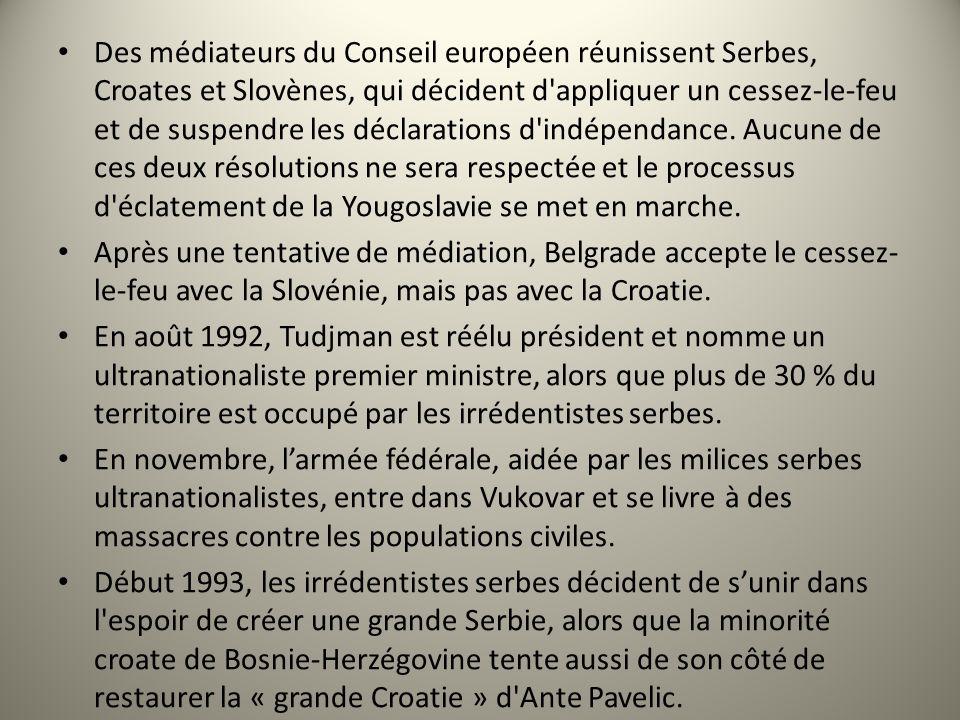 Des médiateurs du Conseil européen réunissent Serbes, Croates et Slovènes, qui décident d'appliquer un cessez-le-feu et de suspendre les déclarations