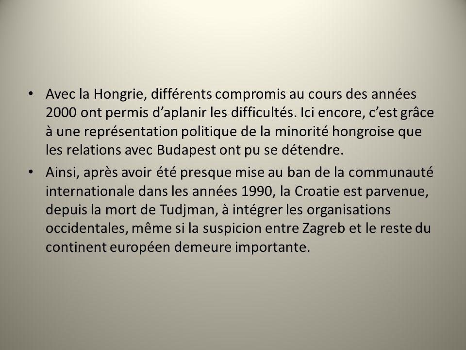 Avec la Hongrie, différents compromis au cours des années 2000 ont permis daplanir les difficultés. Ici encore, cest grâce à une représentation politi