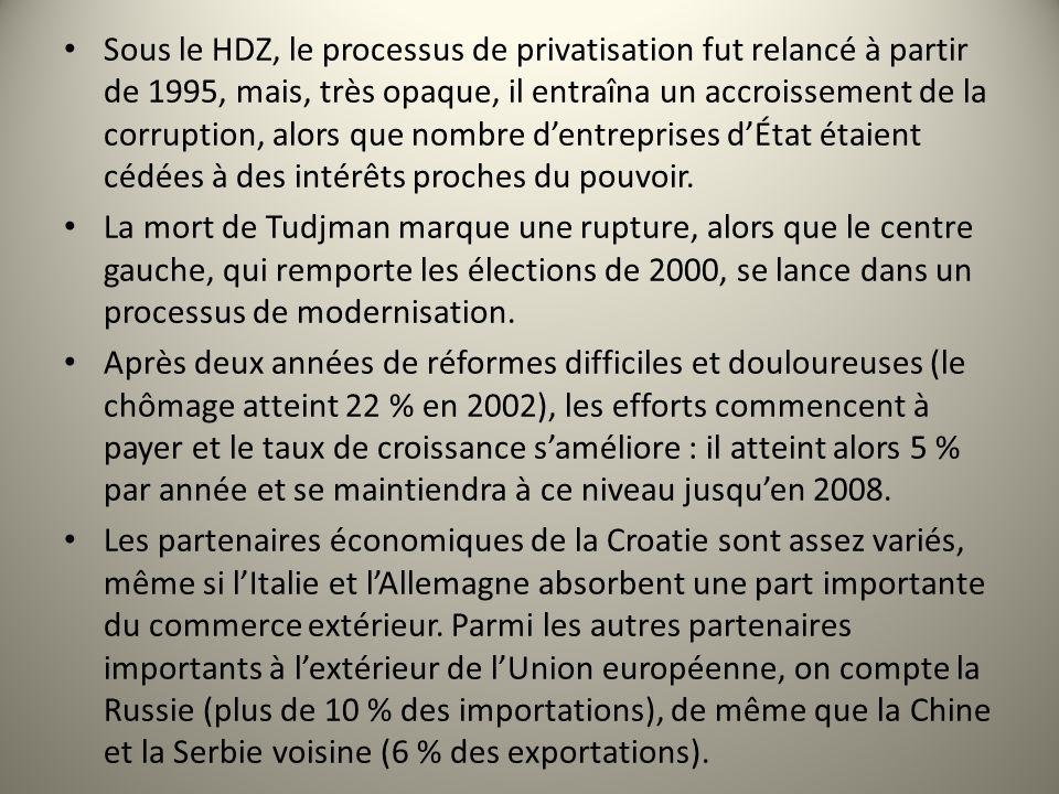 Sous le HDZ, le processus de privatisation fut relancé à partir de 1995, mais, très opaque, il entraîna un accroissement de la corruption, alors que n