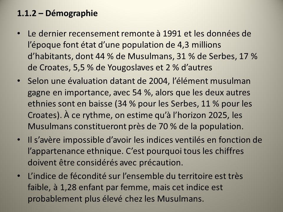 1.1.2 – Démographie Le dernier recensement remonte à 1991 et les données de lépoque font état dune population de 4,3 millions dhabitants, dont 44 % de