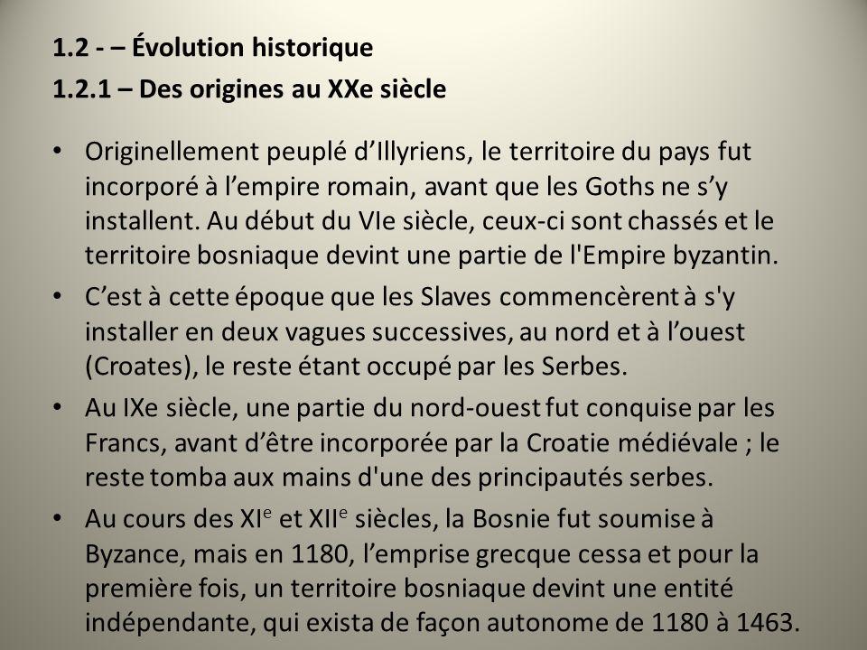 1.2 - – Évolution historique 1.2.1 – Des origines au XXe siècle Originellement peuplé dIllyriens, le territoire du pays fut incorporé à lempire romain