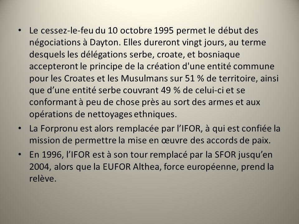 Le cessez-le-feu du 10 octobre 1995 permet le début des négociations à Dayton. Elles dureront vingt jours, au terme desquels les délégations serbe, cr