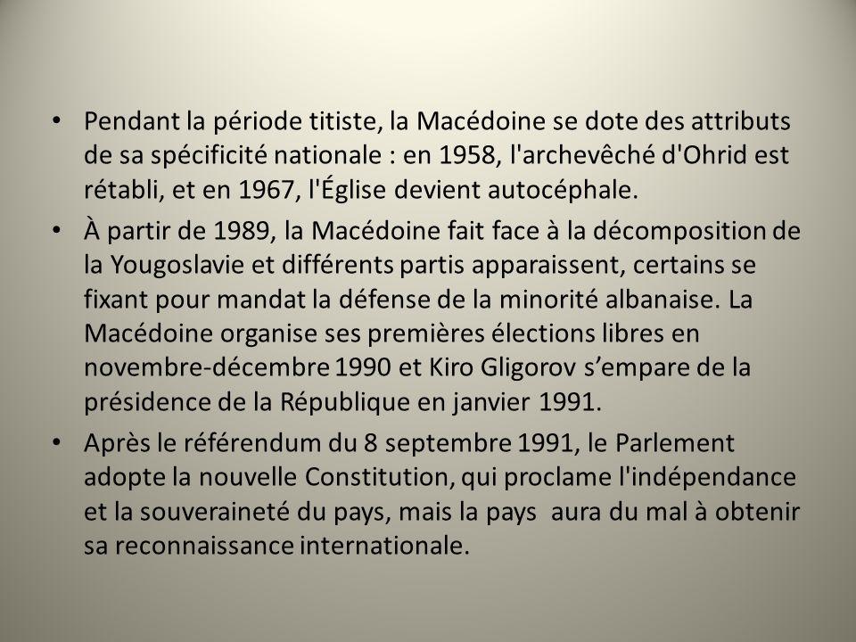 Pendant la période titiste, la Macédoine se dote des attributs de sa spécificité nationale : en 1958, l'archevêché d'Ohrid est rétabli, et en 1967, l'