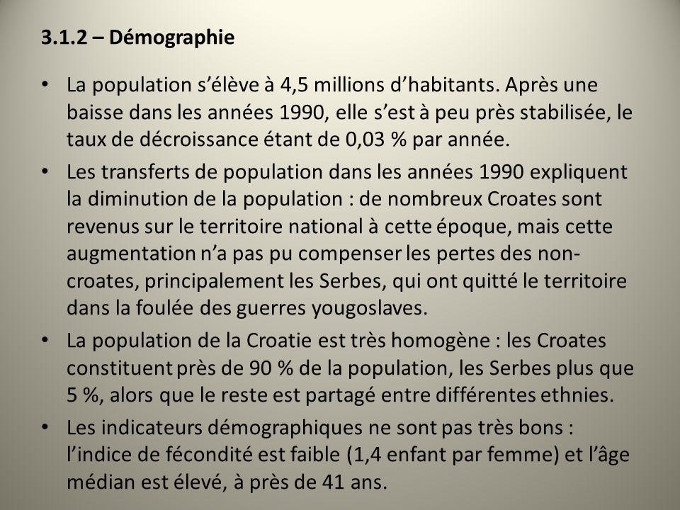 3.1.2 – Démographie La population sélève à 4,5 millions dhabitants. Après une baisse dans les années 1990, elle sest à peu près stabilisée, le taux de