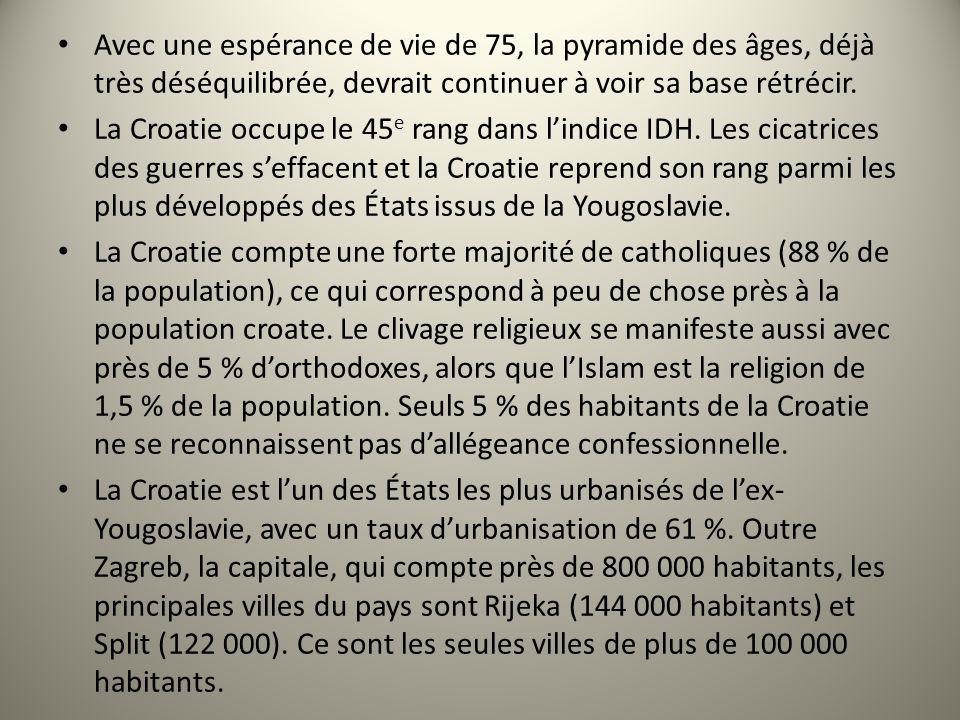 Avec une espérance de vie de 75, la pyramide des âges, déjà très déséquilibrée, devrait continuer à voir sa base rétrécir. La Croatie occupe le 45 e r
