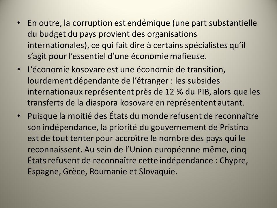 En outre, la corruption est endémique (une part substantielle du budget du pays provient des organisations internationales), ce qui fait dire à certai