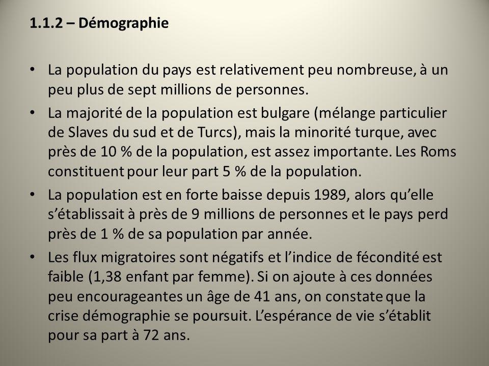 1.1.2 – Démographie La population du pays est relativement peu nombreuse, à un peu plus de sept millions de personnes. La majorité de la population es