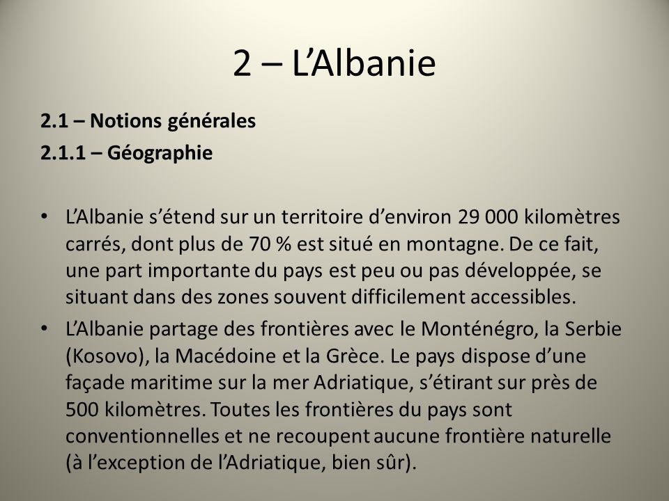 2 – LAlbanie 2.1 – Notions générales 2.1.1 – Géographie LAlbanie sétend sur un territoire denviron 29 000 kilomètres carrés, dont plus de 70 % est sit