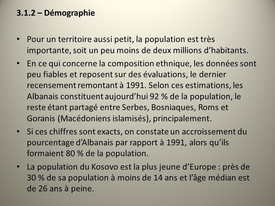 3.1.2 – Démographie Pour un territoire aussi petit, la population est très importante, soit un peu moins de deux millions dhabitants. En ce qui concer