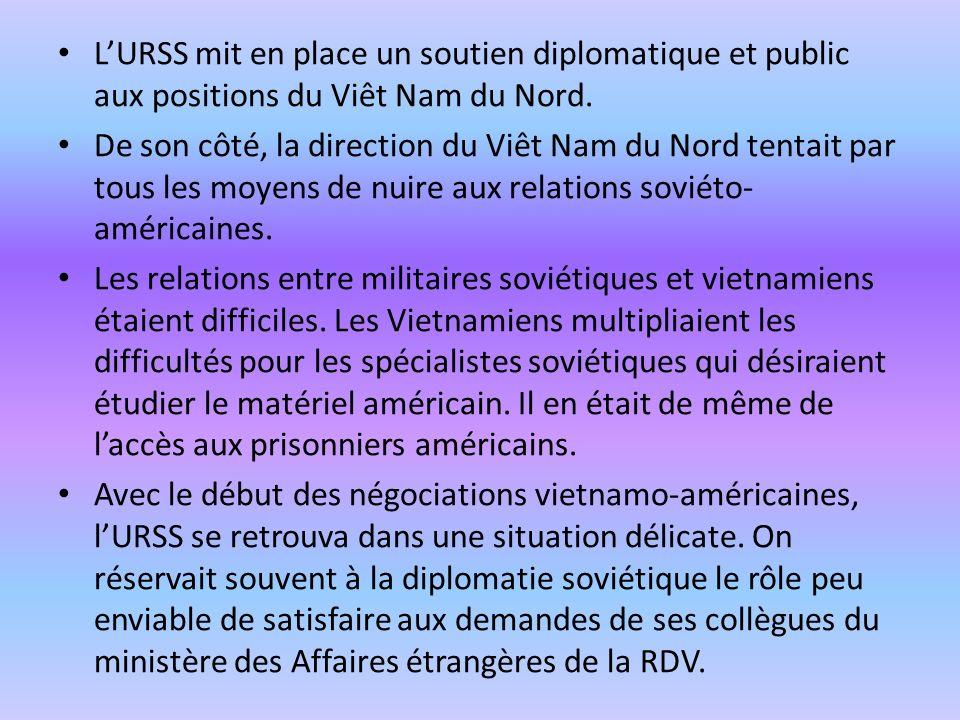 LURSS mit en place un soutien diplomatique et public aux positions du Viêt Nam du Nord. De son côté, la direction du Viêt Nam du Nord tentait par tous