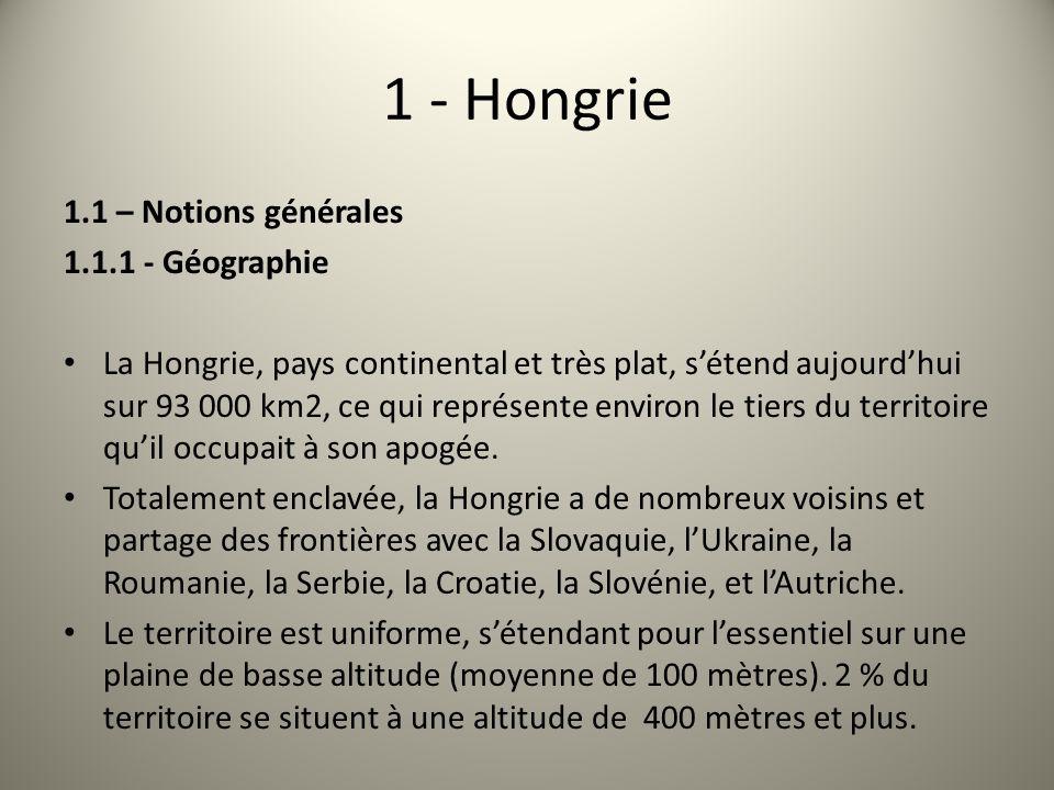 1 - Hongrie 1.1 – Notions générales 1.1.1 - Géographie La Hongrie, pays continental et très plat, sétend aujourdhui sur 93 000 km2, ce qui représente