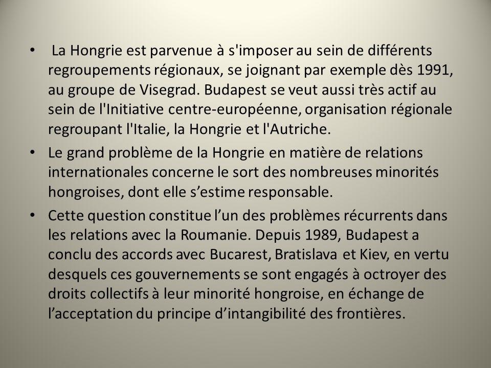 La Hongrie est parvenue à s'imposer au sein de différents regroupements régionaux, se joignant par exemple dès 1991, au groupe de Visegrad. Budapest s
