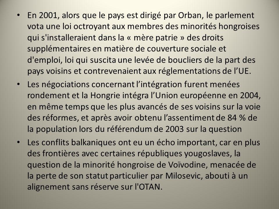 En 2001, alors que le pays est dirigé par Orban, le parlement vota une loi octroyant aux membres des minorités hongroises qui s'installeraient dans la