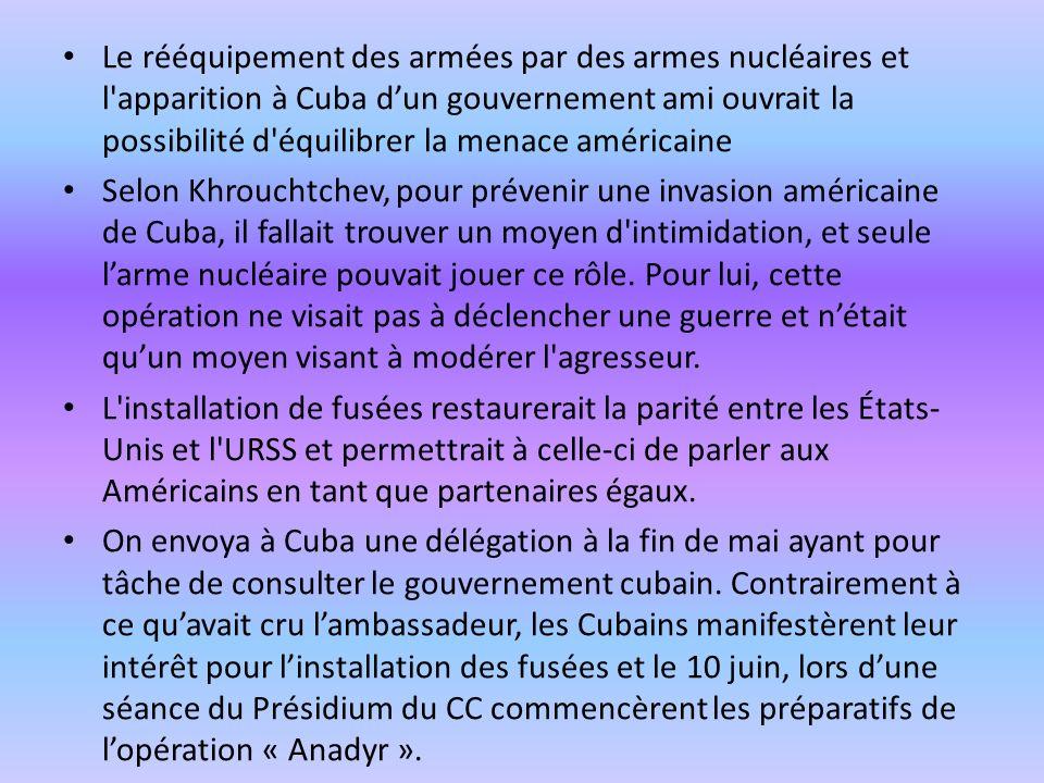 Le rééquipement des armées par des armes nucléaires et l'apparition à Cuba dun gouvernement ami ouvrait la possibilité d'équilibrer la menace américai
