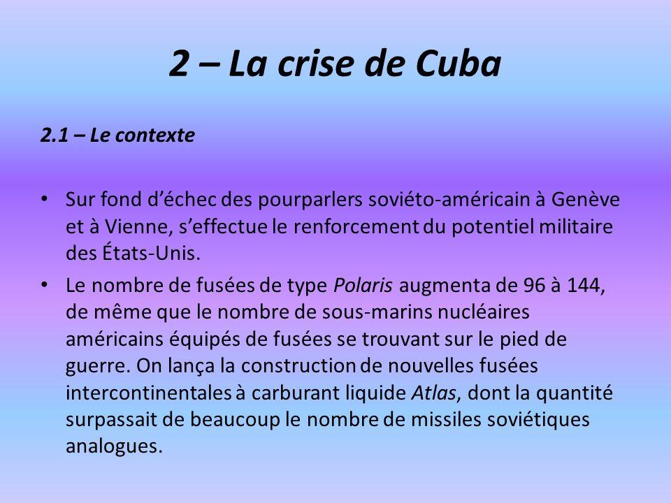 2 – La crise de Cuba 2.1 – Le contexte Sur fond déchec des pourparlers soviéto-américain à Genève et à Vienne, seffectue le renforcement du potentiel