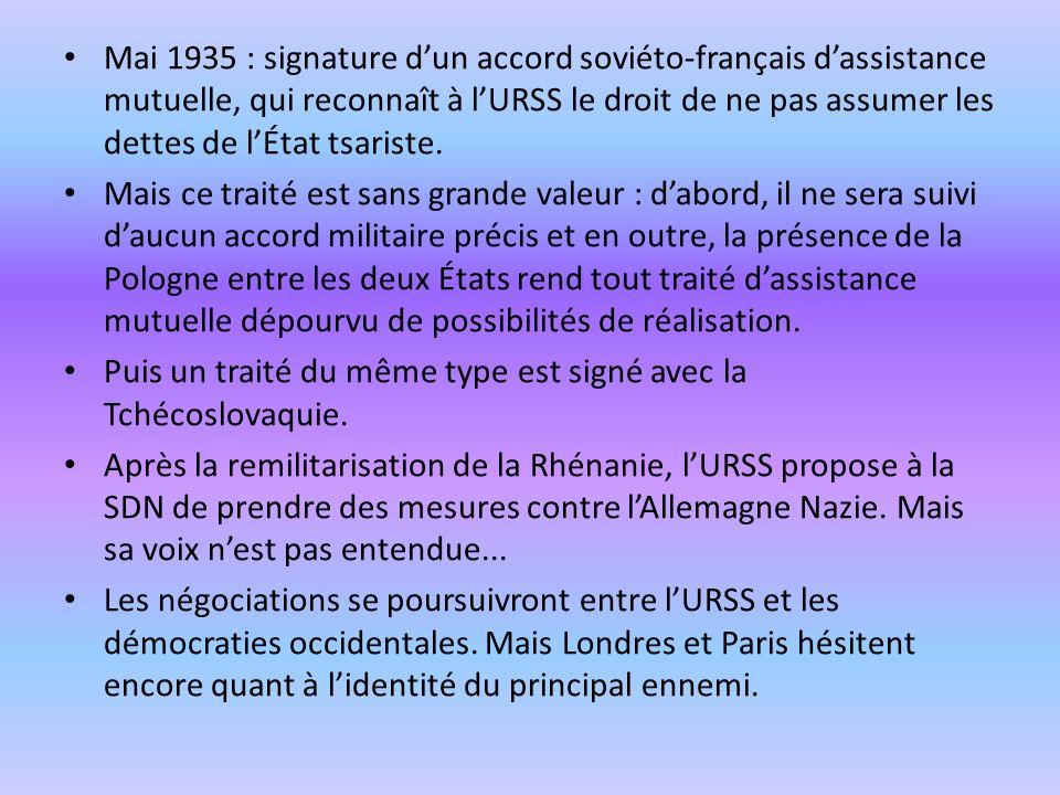 Mai 1935 : signature dun accord soviéto-français dassistance mutuelle, qui reconnaît à lURSS le droit de ne pas assumer les dettes de lÉtat tsariste.