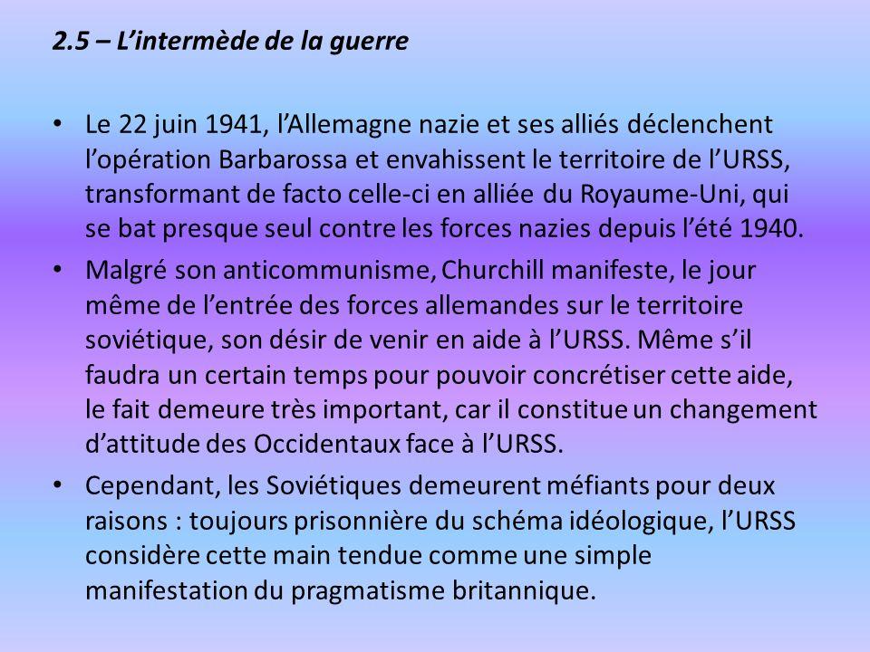 2.5 – Lintermède de la guerre Le 22 juin 1941, lAllemagne nazie et ses alliés déclenchent lopération Barbarossa et envahissent le territoire de lURSS,