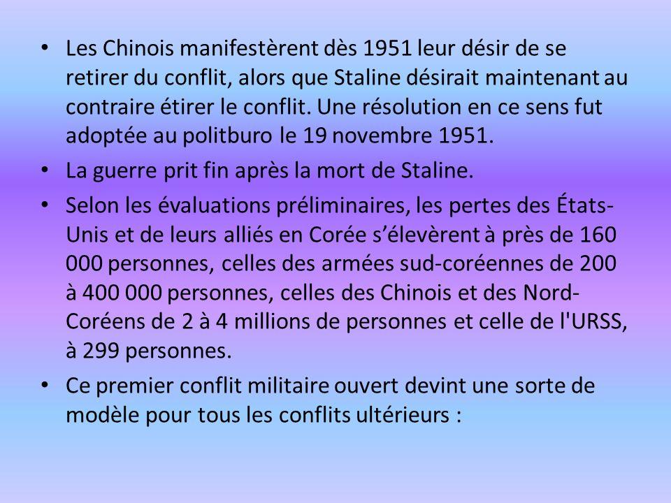 Les Chinois manifestèrent dès 1951 leur désir de se retirer du conflit, alors que Staline désirait maintenant au contraire étirer le conflit. Une réso