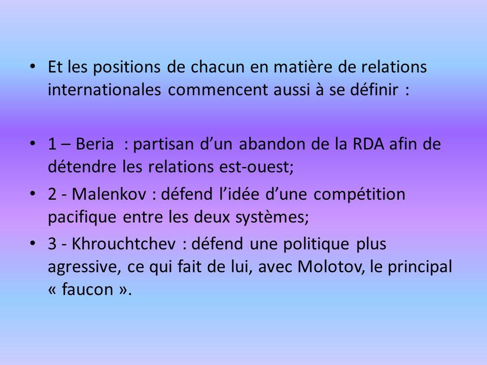Et les positions de chacun en matière de relations internationales commencent aussi à se définir : 1 – Beria : partisan dun abandon de la RDA afin de