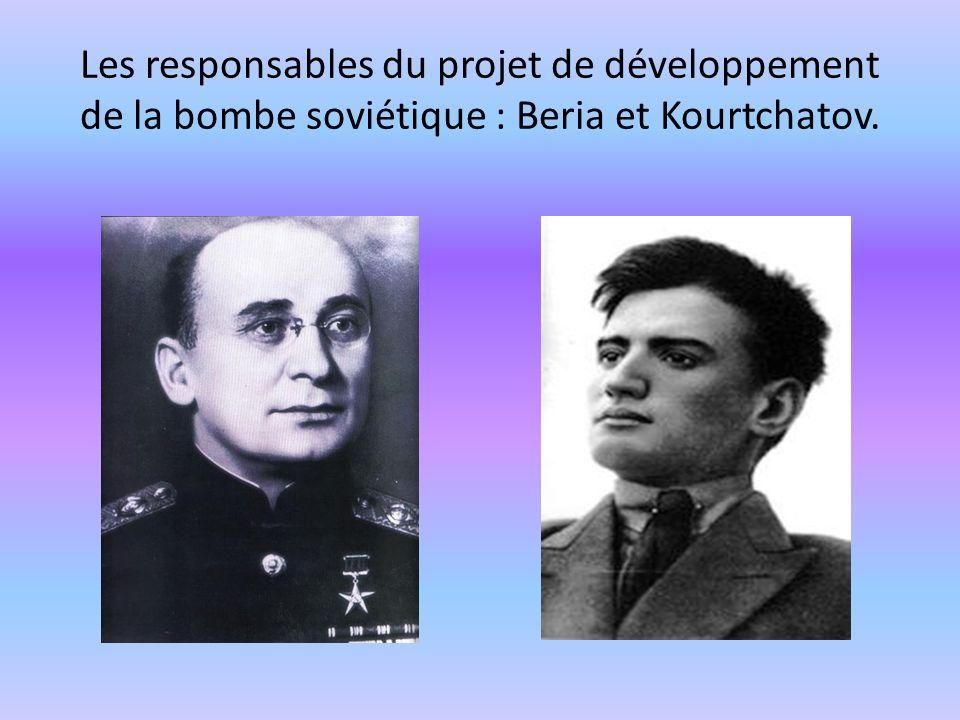 Les responsables du projet de développement de la bombe soviétique : Beria et Kourtchatov.