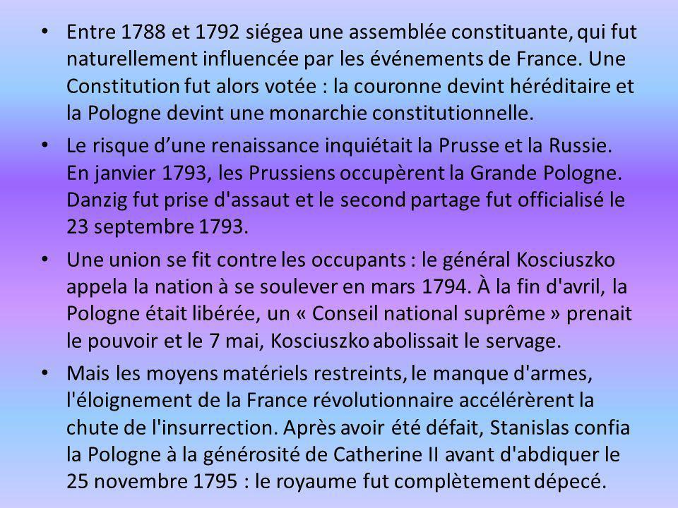 Entre 1788 et 1792 siégea une assemblée constituante, qui fut naturellement influencée par les événements de France. Une Constitution fut alors votée