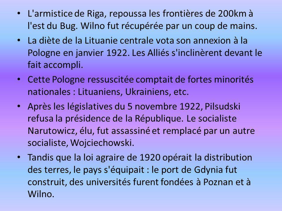 L'armistice de Riga, repoussa les frontières de 200km à l'est du Bug. Wilno fut récupérée par un coup de mains. La diète de la Lituanie centrale vota