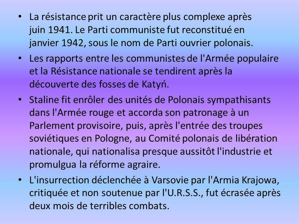 La résistance prit un caractère plus complexe après juin 1941. Le Parti communiste fut reconstitué en janvier 1942, sous le nom de Parti ouvrier polon