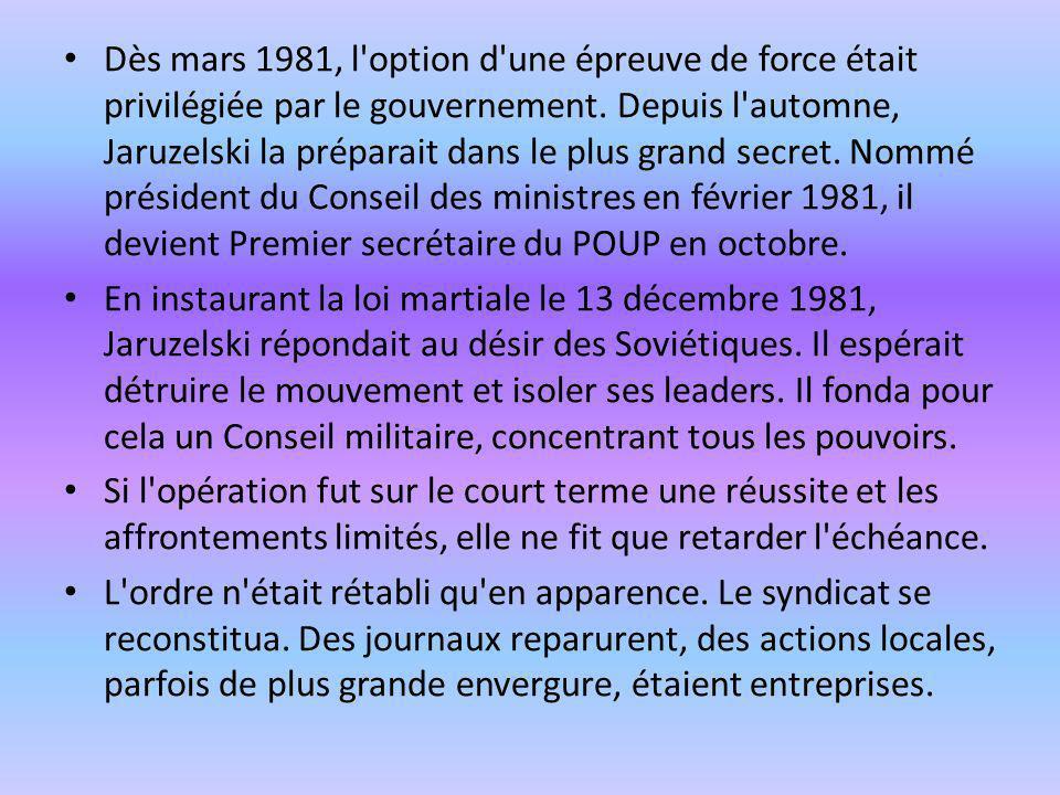 Dès mars 1981, l'option d'une épreuve de force était privilégiée par le gouvernement. Depuis l'automne, Jaruzelski la préparait dans le plus grand sec