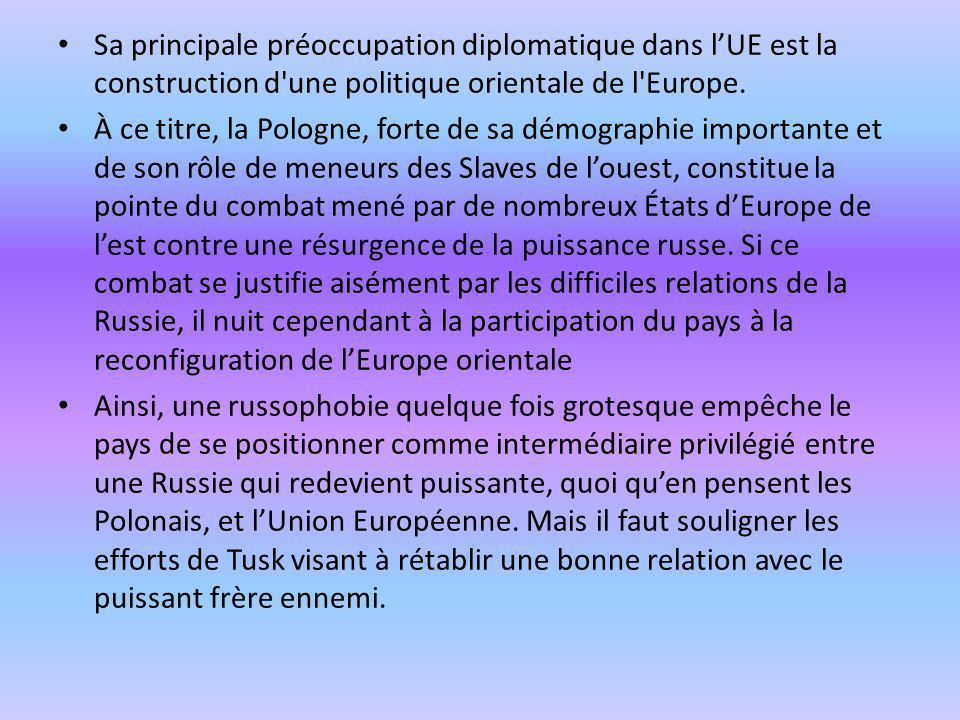 Sa principale préoccupation diplomatique dans lUE est la construction d'une politique orientale de l'Europe. À ce titre, la Pologne, forte de sa démog
