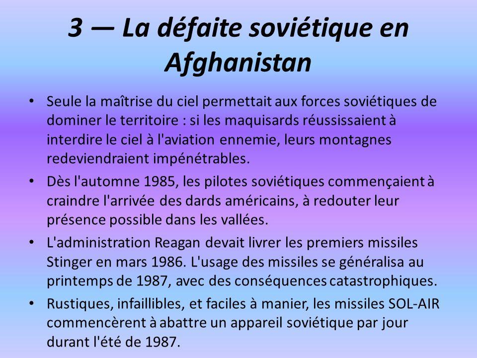 3 La défaite soviétique en Afghanistan Seule la maîtrise du ciel permettait aux forces soviétiques de dominer le territoire : si les maquisards réussissaient à interdire le ciel à l aviation ennemie, leurs montagnes redeviendraient impénétrables.