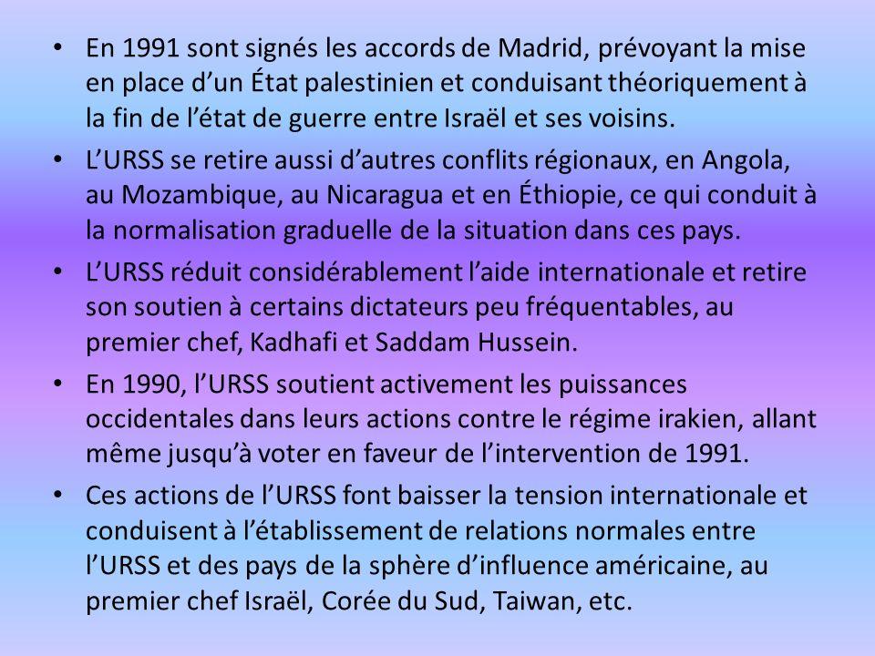 En 1991 sont signés les accords de Madrid, prévoyant la mise en place dun État palestinien et conduisant théoriquement à la fin de létat de guerre entre Israël et ses voisins.