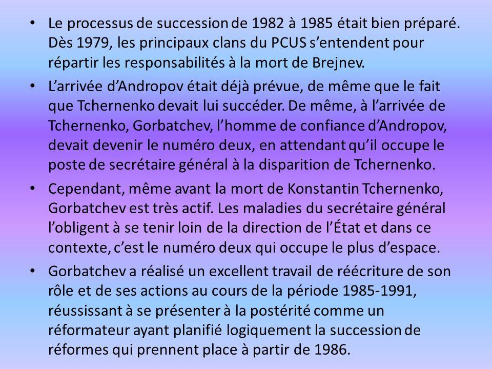 Le processus de succession de 1982 à 1985 était bien préparé.