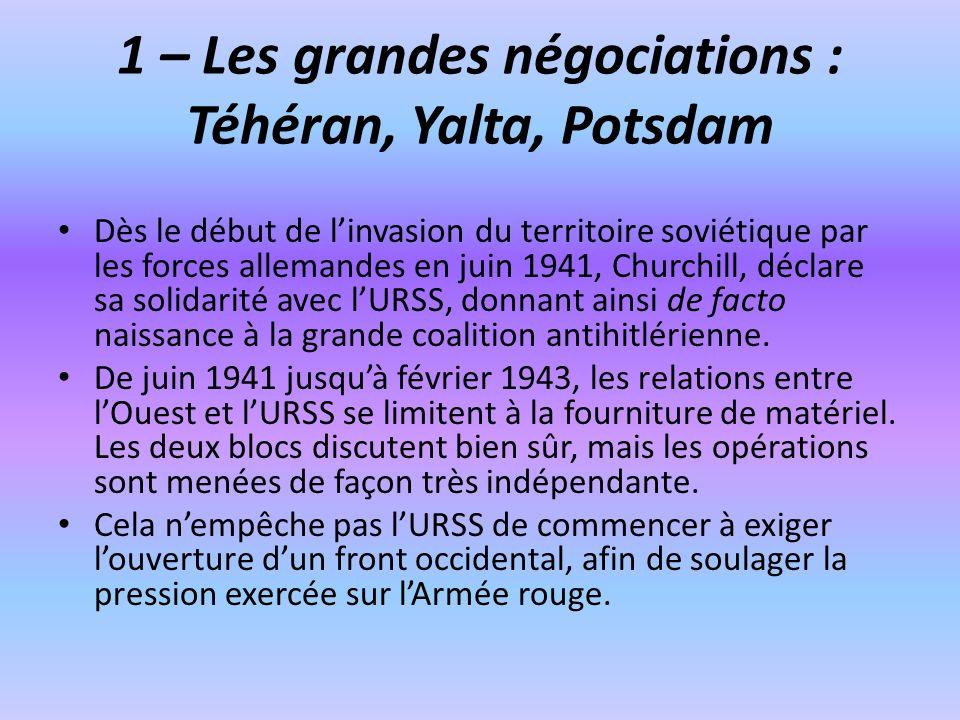 1 – Les grandes négociations : Téhéran, Yalta, Potsdam Dès le début de linvasion du territoire soviétique par les forces allemandes en juin 1941, Chur