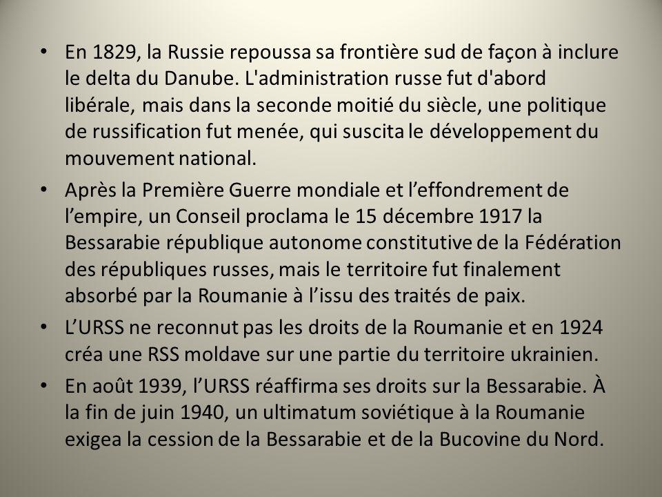En 1829, la Russie repoussa sa frontière sud de façon à inclure le delta du Danube. L'administration russe fut d'abord libérale, mais dans la seconde