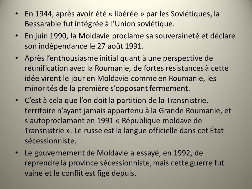 En 1944, après avoir été « libérée » par les Soviétiques, la Bessarabie fut intégrée à l'Union soviétique. En juin 1990, la Moldavie proclame sa souve