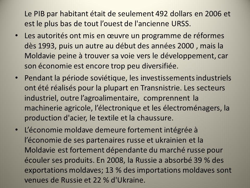 Le PIB par habitant était de seulement 492 dollars en 2006 et est le plus bas de tout louest de l'ancienne URSS. Les autorités ont mis en œuvre un pro